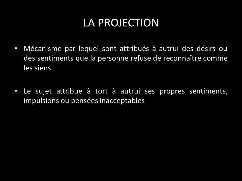 LA PROJECTION Mécanisme par lequel sont attribués à autrui des désirs ou des sentiments que la personne refuse de reconnaître comme les siens.