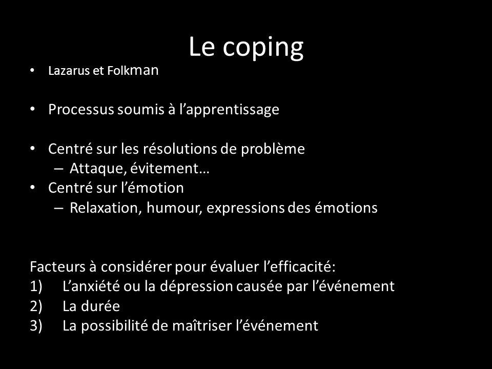 Le coping Processus soumis à l'apprentissage