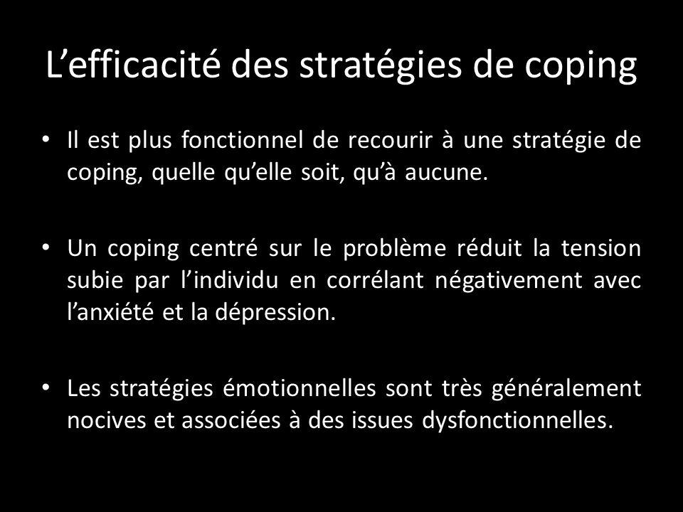 L'efficacité des stratégies de coping