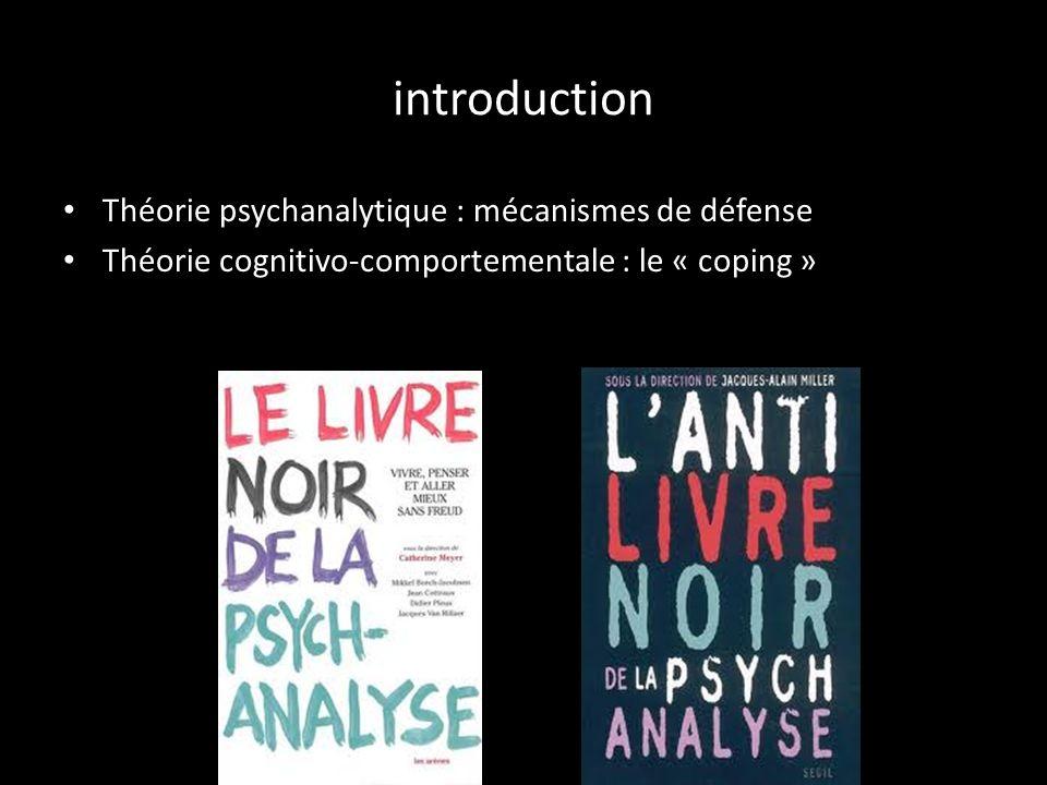 introduction Théorie psychanalytique : mécanismes de défense