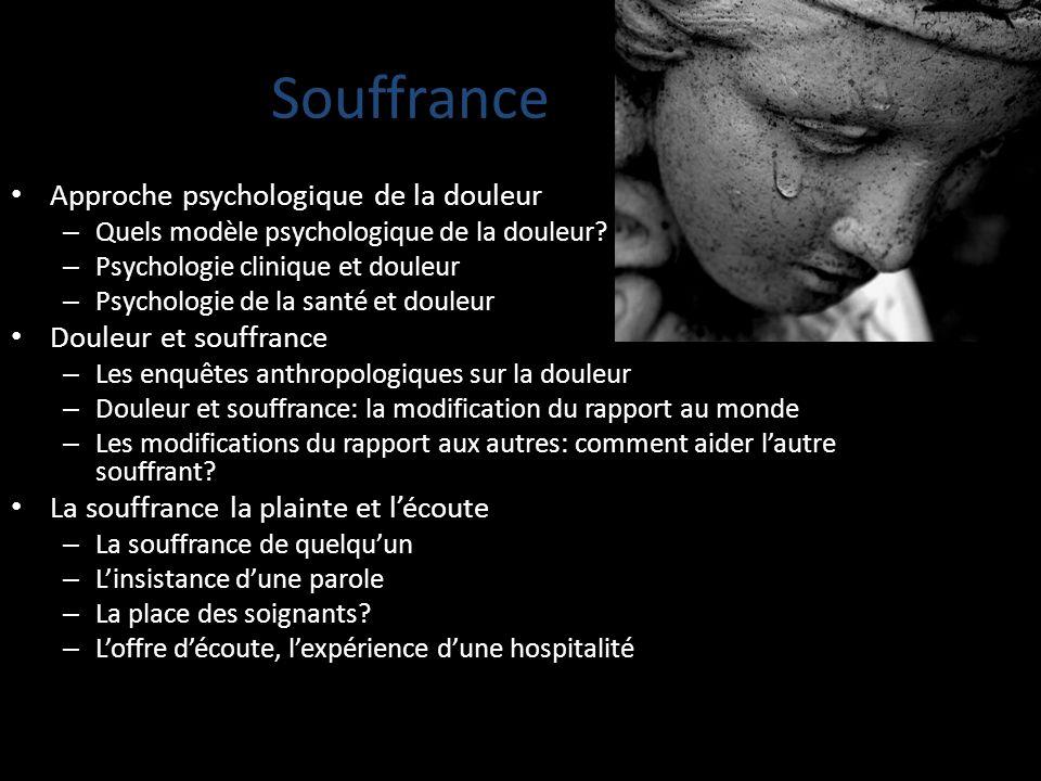 Souffrance Approche psychologique de la douleur Douleur et souffrance