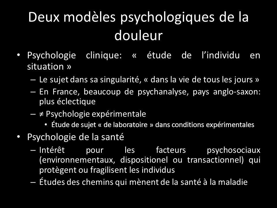 Deux modèles psychologiques de la douleur