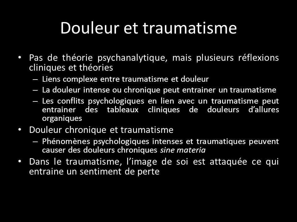 Douleur et traumatisme