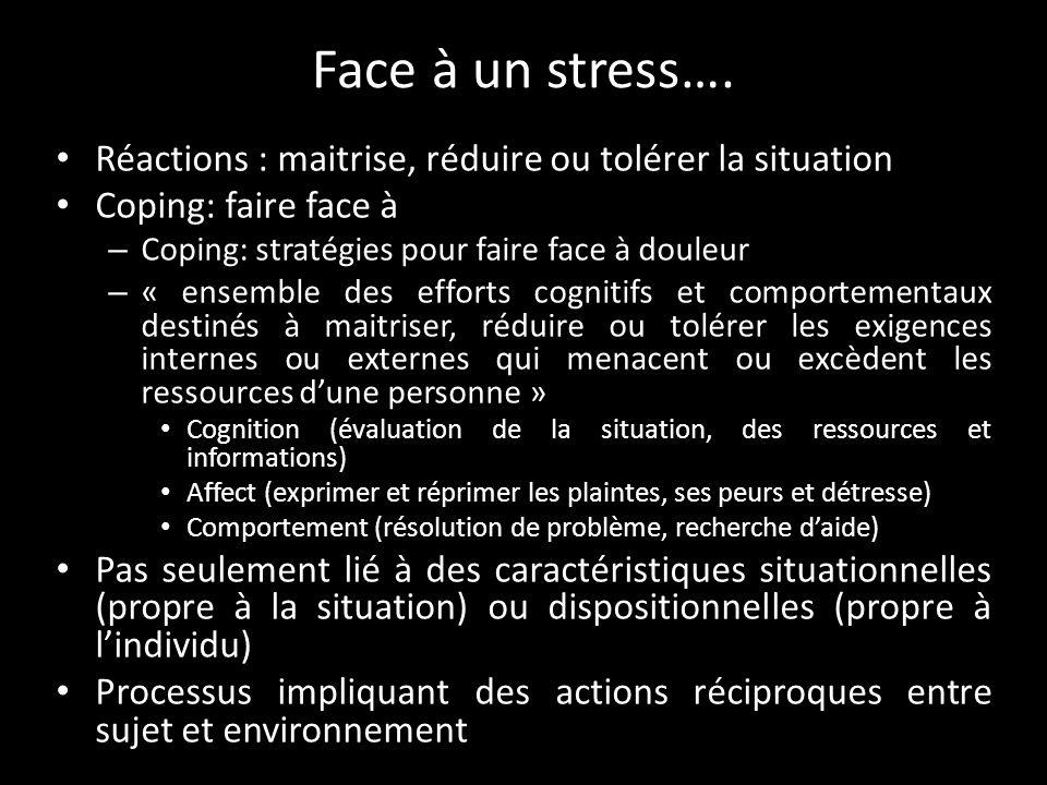 Face à un stress…. Réactions : maitrise, réduire ou tolérer la situation. Coping: faire face à. Coping: stratégies pour faire face à douleur.