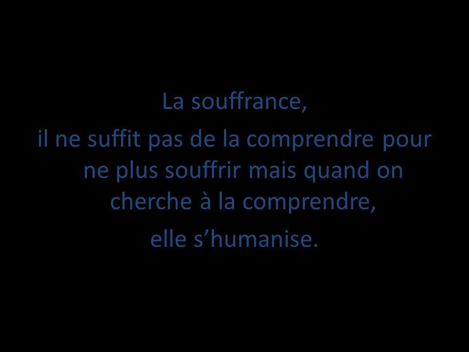 La souffrance, il ne suffit pas de la comprendre pour ne plus souffrir mais quand on cherche à la comprendre, elle s'humanise.