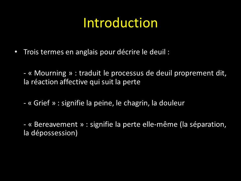Introduction Trois termes en anglais pour décrire le deuil :