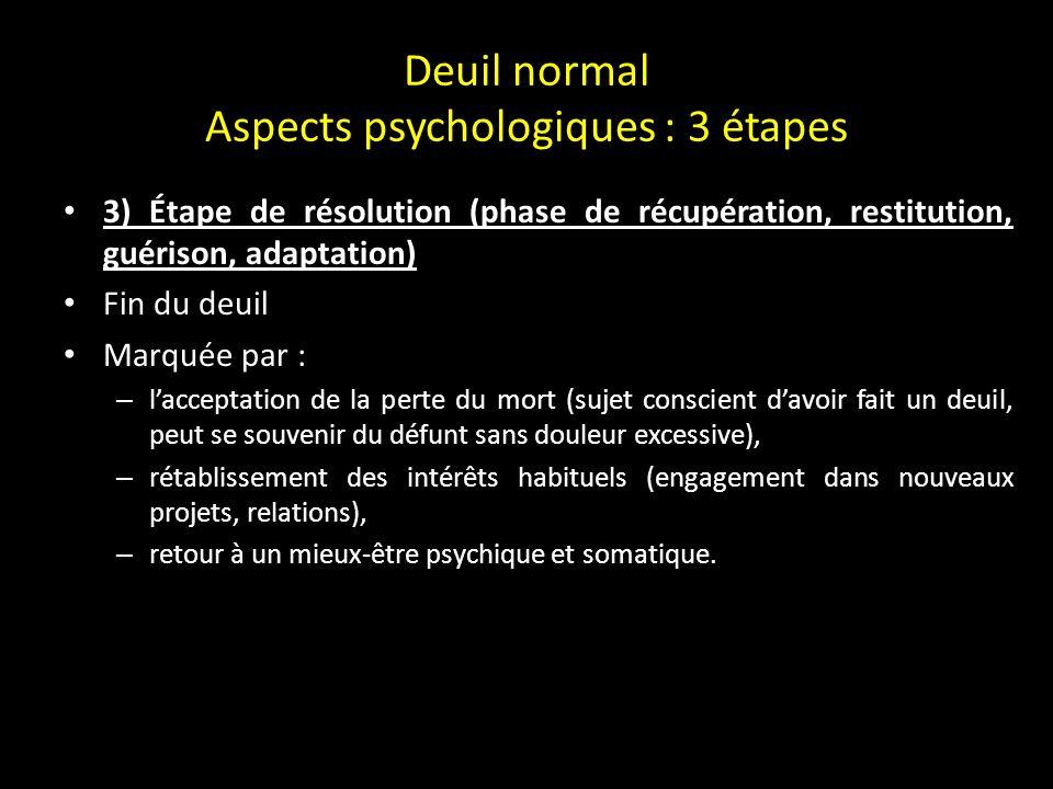 Deuil normal Aspects psychologiques : 3 étapes