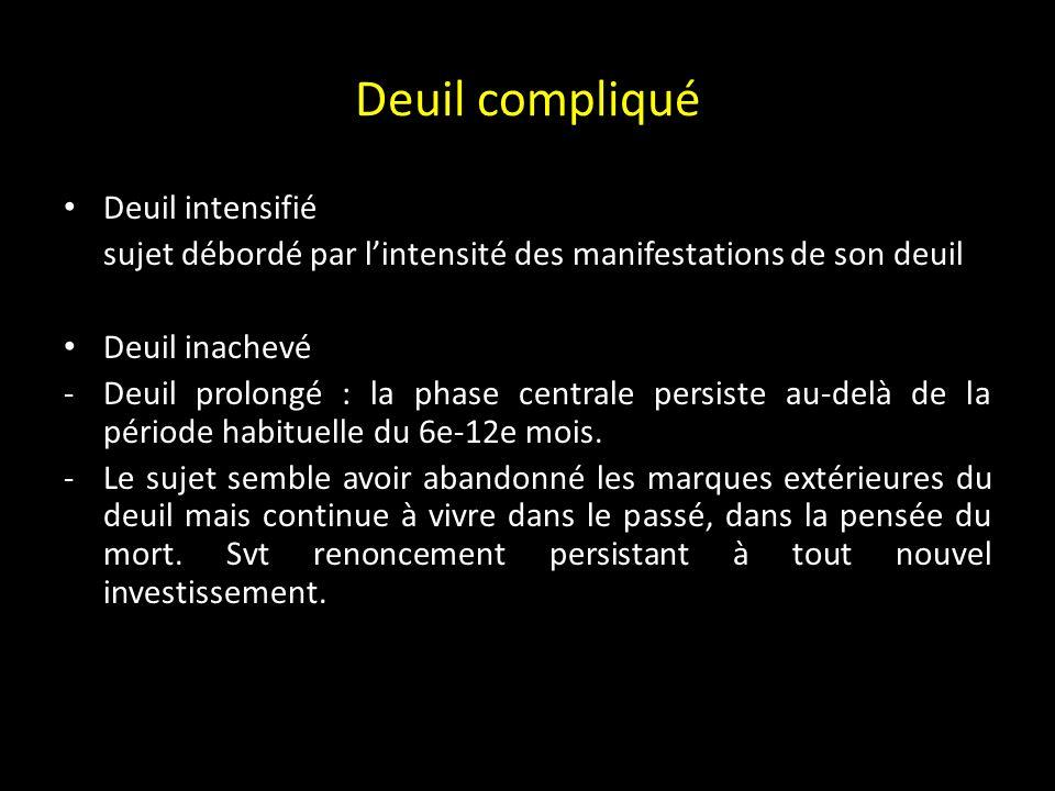 Deuil compliqué Deuil intensifié