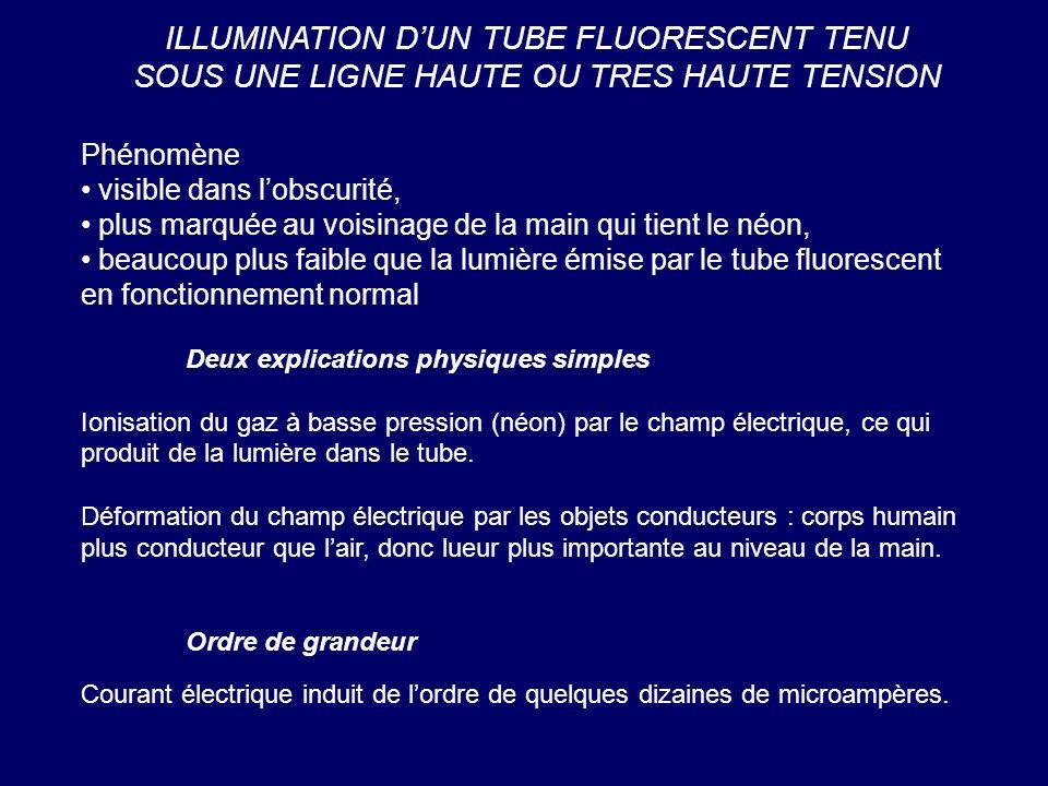 ILLUMINATION D'UN TUBE FLUORESCENT TENU SOUS UNE LIGNE HAUTE OU TRES HAUTE TENSION