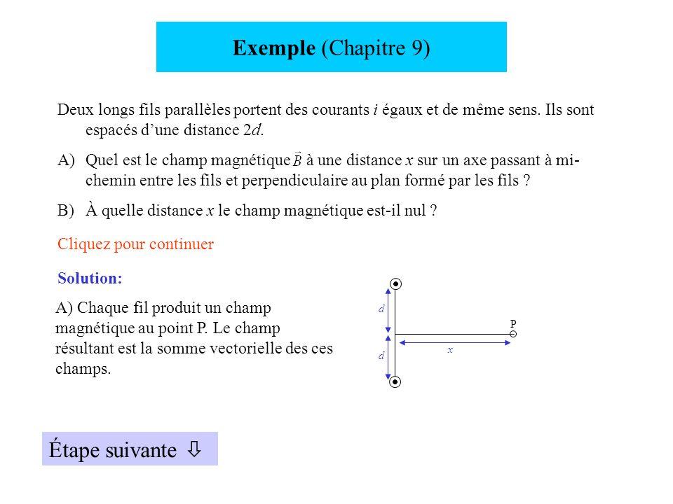 Exemple (Chapitre 9) Étape suivante 