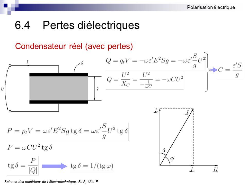 6.4 Pertes diélectriques Condensateur réel (avec pertes)