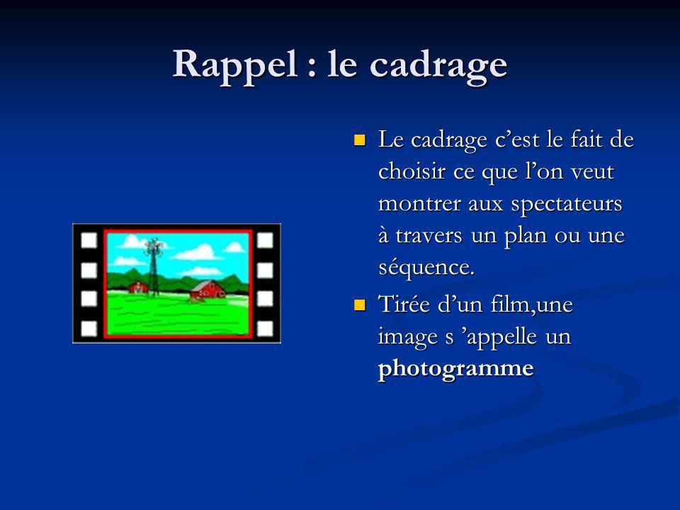 Rappel : le cadrage Le cadrage c'est le fait de choisir ce que l'on veut montrer aux spectateurs à travers un plan ou une séquence.