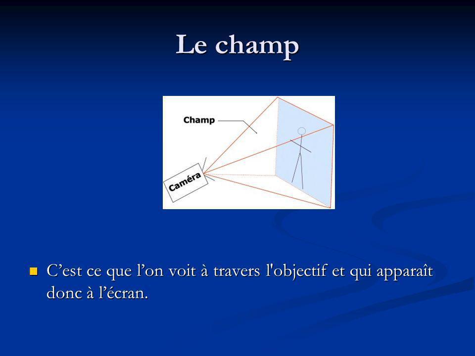 Le champ C'est ce que l'on voit à travers l objectif et qui apparaît donc à l'écran.