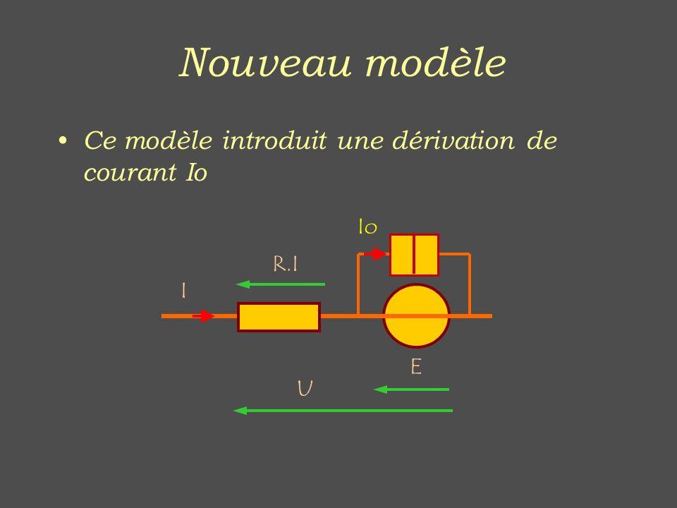 Nouveau modèle Ce modèle introduit une dérivation de courant Io Io R.I