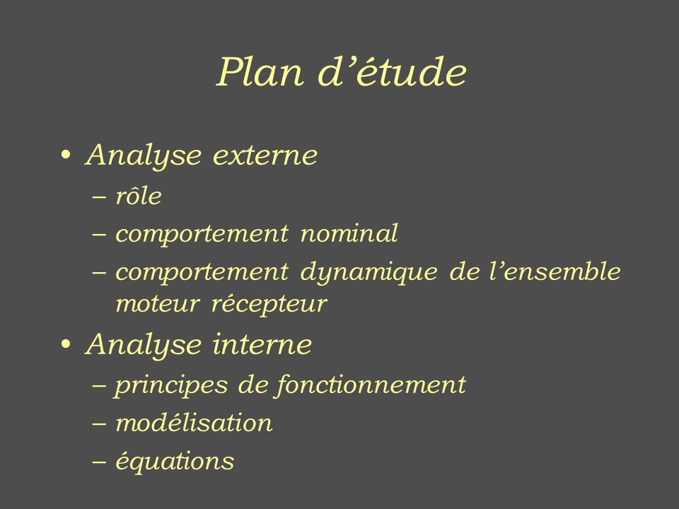 Plan d'étude Analyse externe Analyse interne rôle comportement nominal