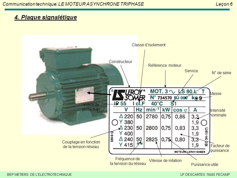 4. Plaque signalétique Classe d'isolement Constructeur