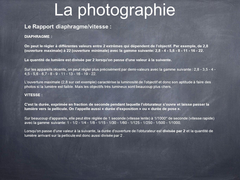 La photographie Le Rapport diaphragme/vitesse : DIAPHRAGME :