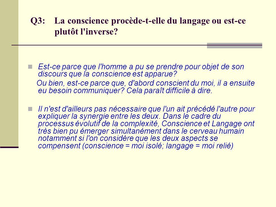 Q3: La conscience procède-t-elle du langage ou est-ce plutôt l inverse
