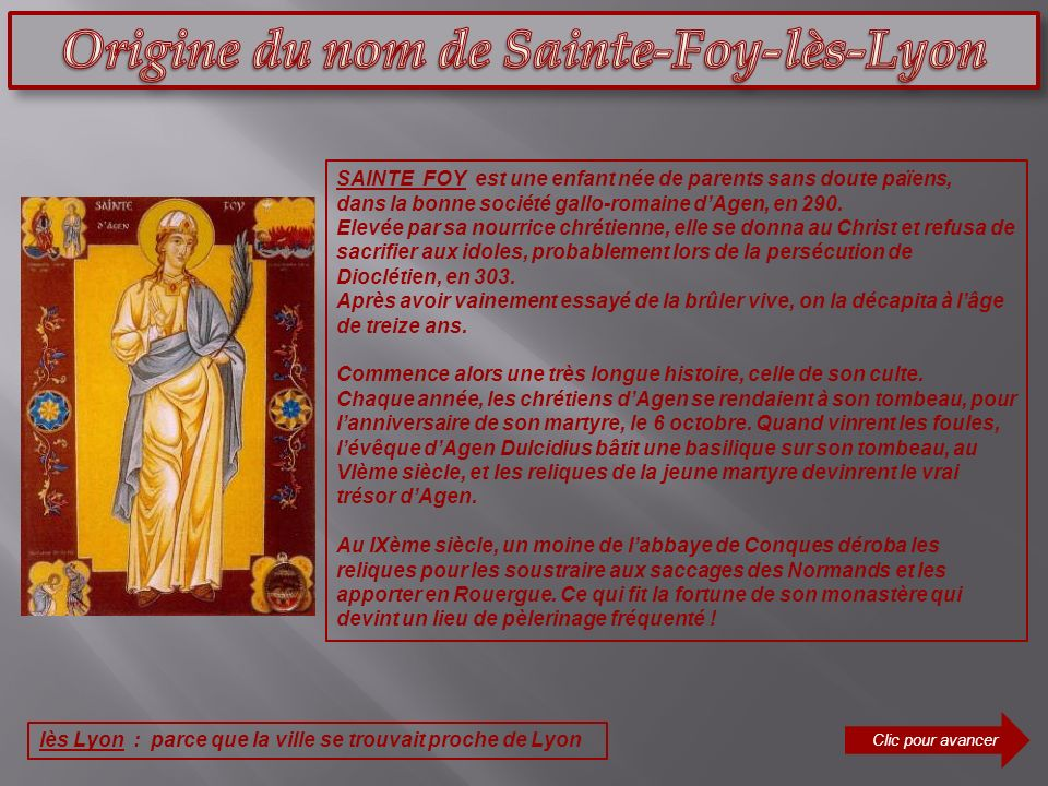 Origine du nom de Sainte-Foy-lès-Lyon