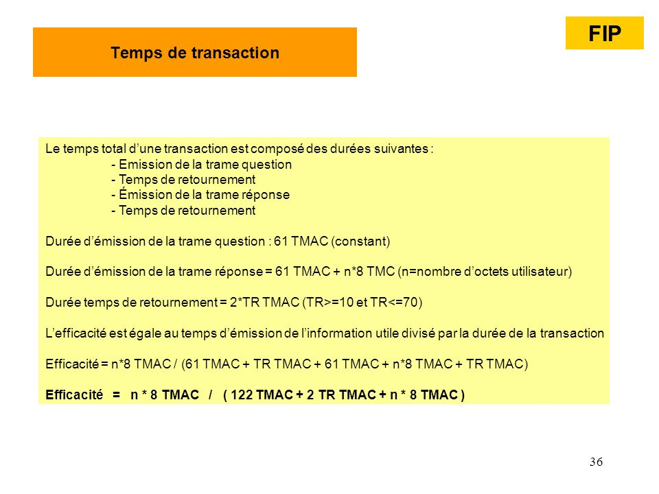 FIP Temps de transaction