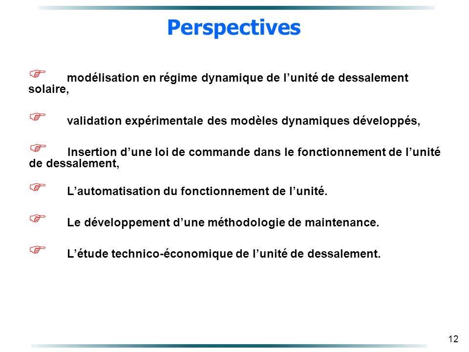 Perspectives modélisation en régime dynamique de l'unité de dessalement solaire, validation expérimentale des modèles dynamiques développés,