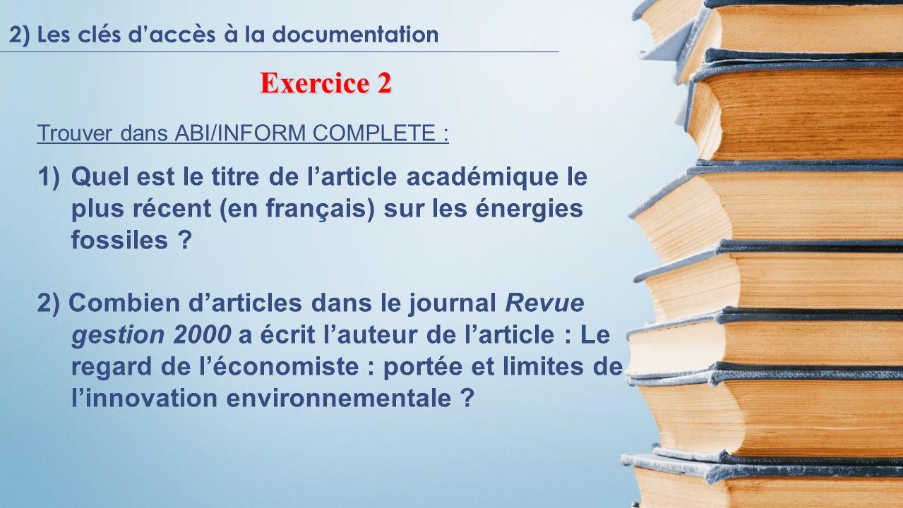 2) Les clés d'accès à la documentation