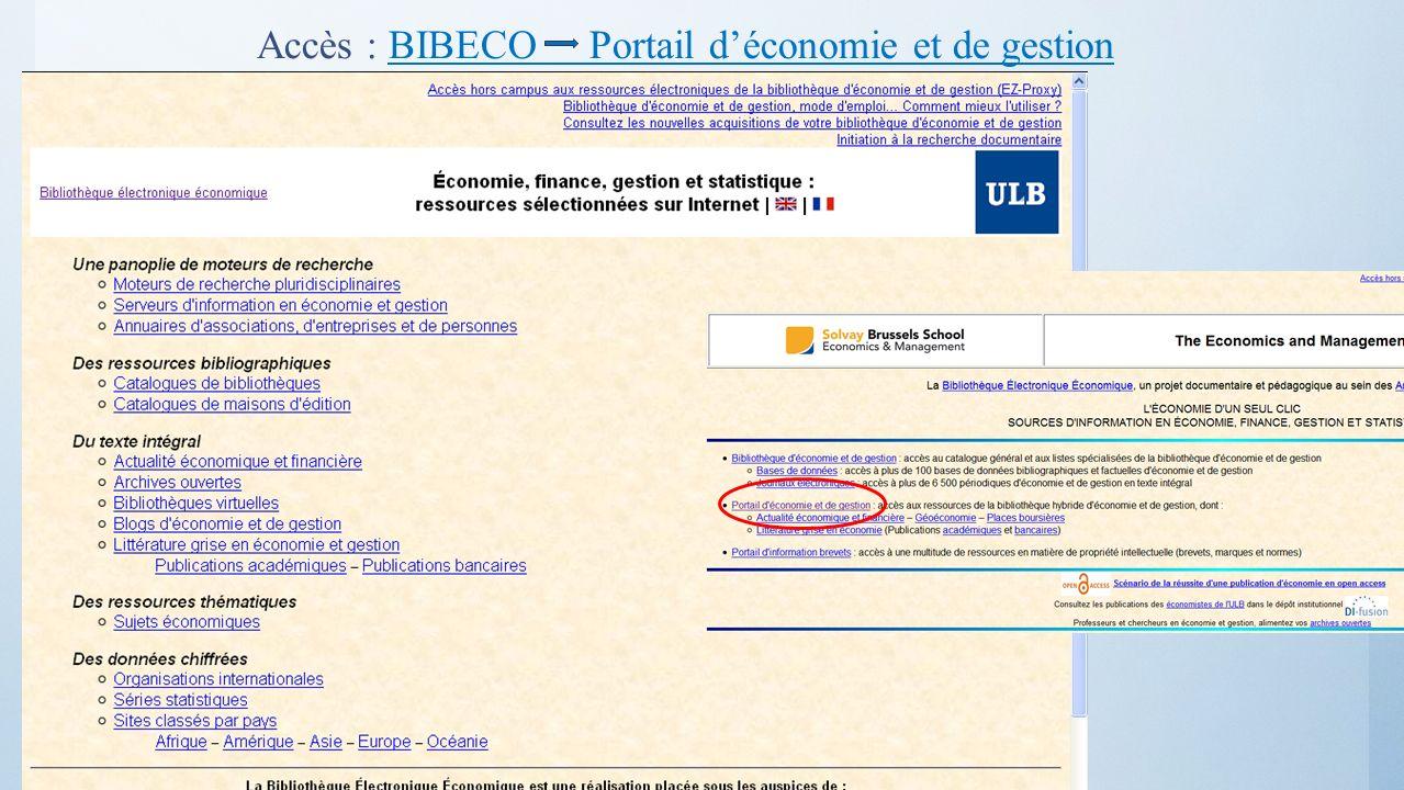 Accès : BIBECO Portail d'économie et de gestion