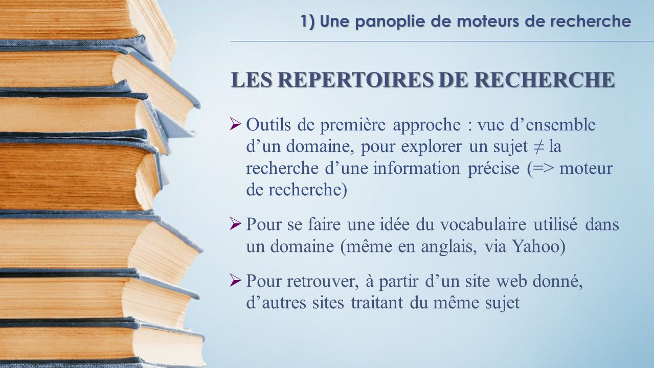 LES REPERTOIRES DE RECHERCHE