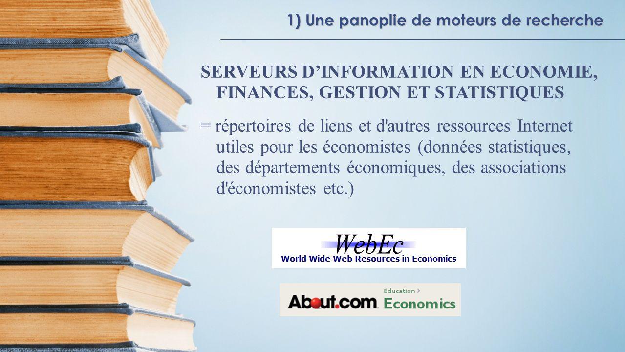 SERVEURS D'INFORMATION EN ECONOMIE, FINANCES, GESTION ET STATISTIQUES