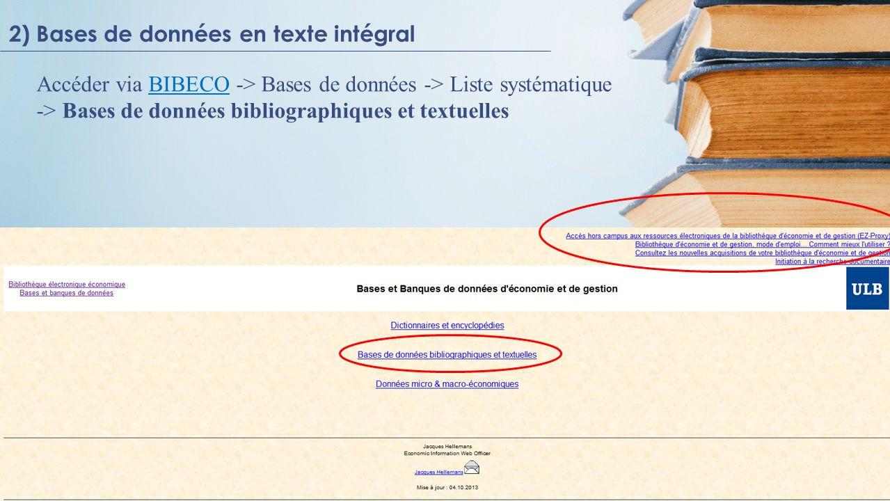 2) Bases de données en texte intégral