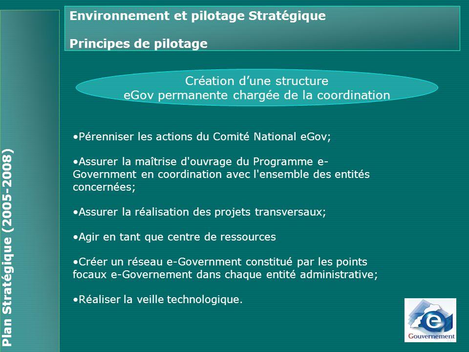 Environnement et pilotage Stratégique Principes de pilotage