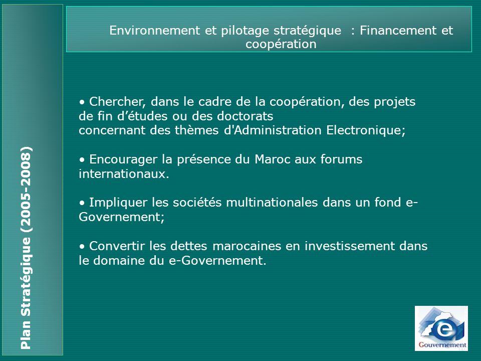 Environnement et pilotage stratégique : Financement et coopération