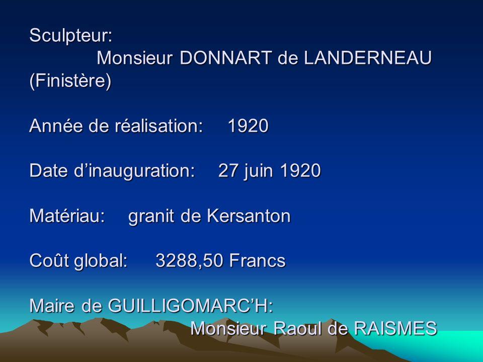 Sculpteur: Monsieur DONNART de LANDERNEAU (Finistère) Année de réalisation: 1920 Date d'inauguration: 27 juin 1920 Matériau: granit de Kersanton Coût global: 3288,50 Francs Maire de GUILLIGOMARC'H: Monsieur Raoul de RAISMES