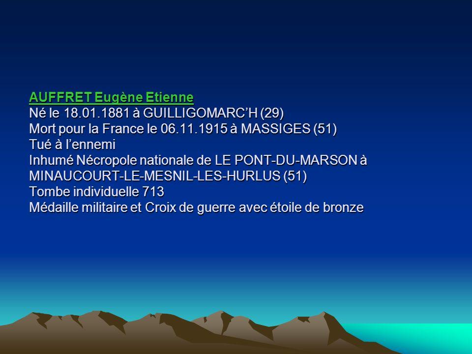 AUFFRET Eugène Etienne Né le 18. 01