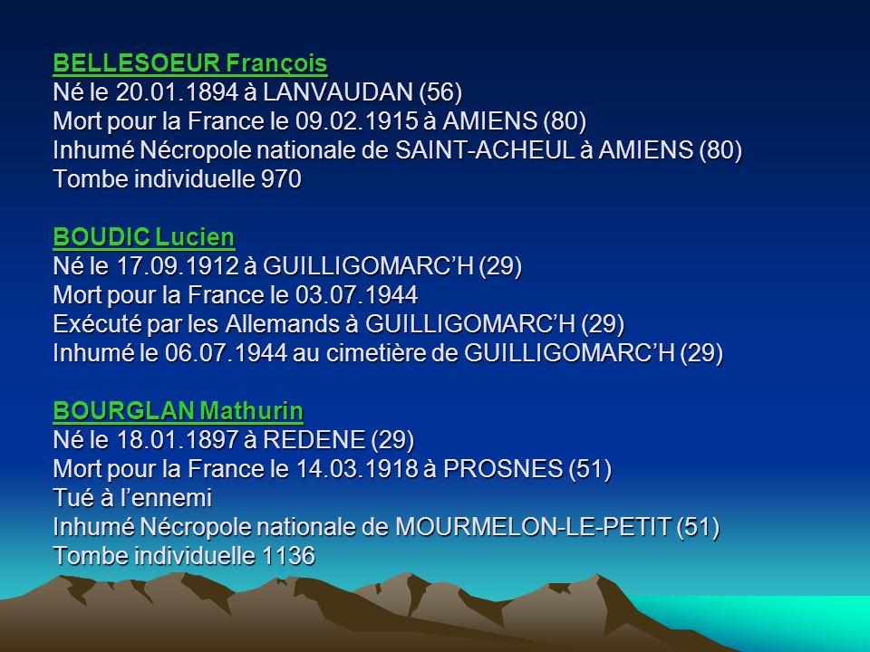 BELLESOEUR François Né le 20. 01