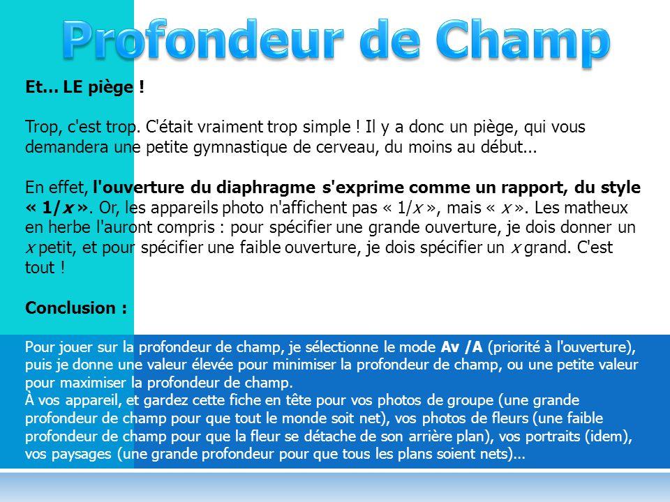 Profondeur de Champ Et... LE piège !