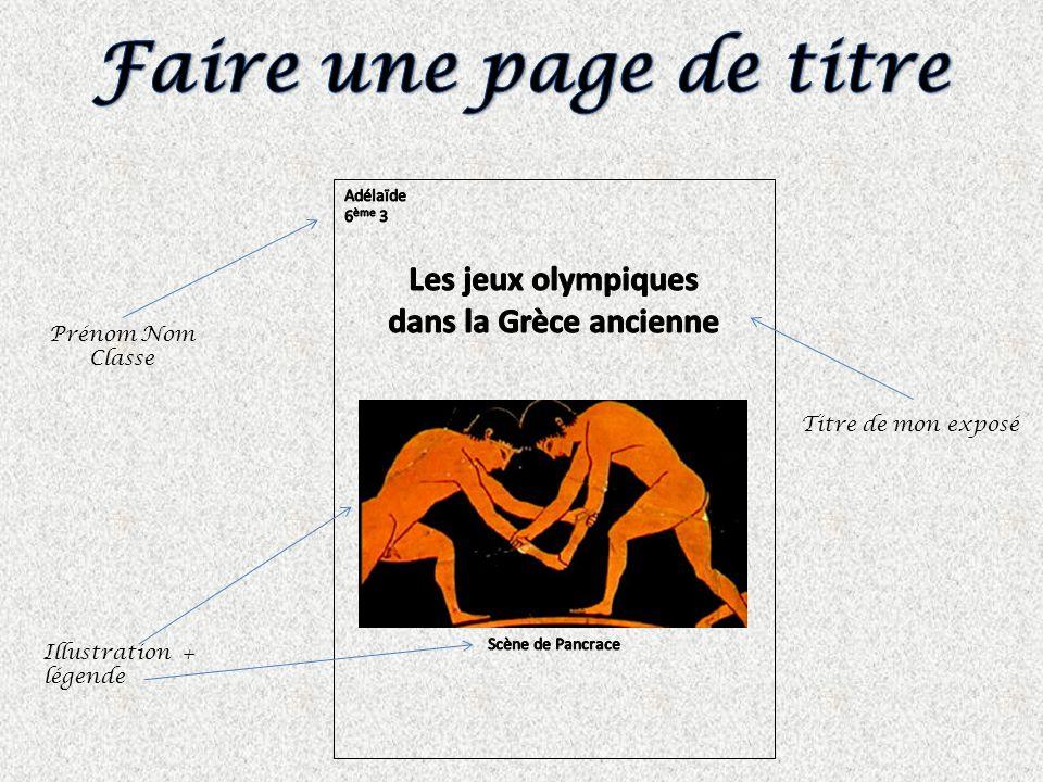Faire une page de titre Les jeux olympiques dans la Grèce ancienne