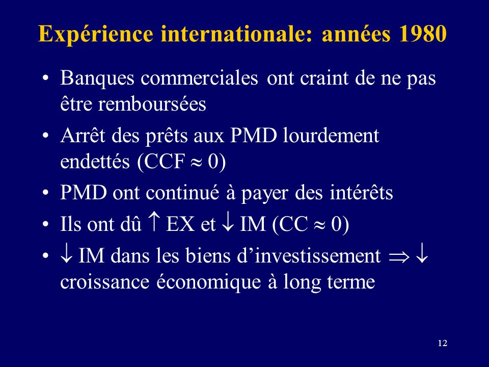 Expérience internationale: années 1980