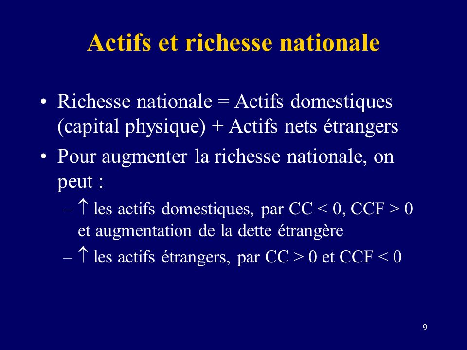 Actifs et richesse nationale