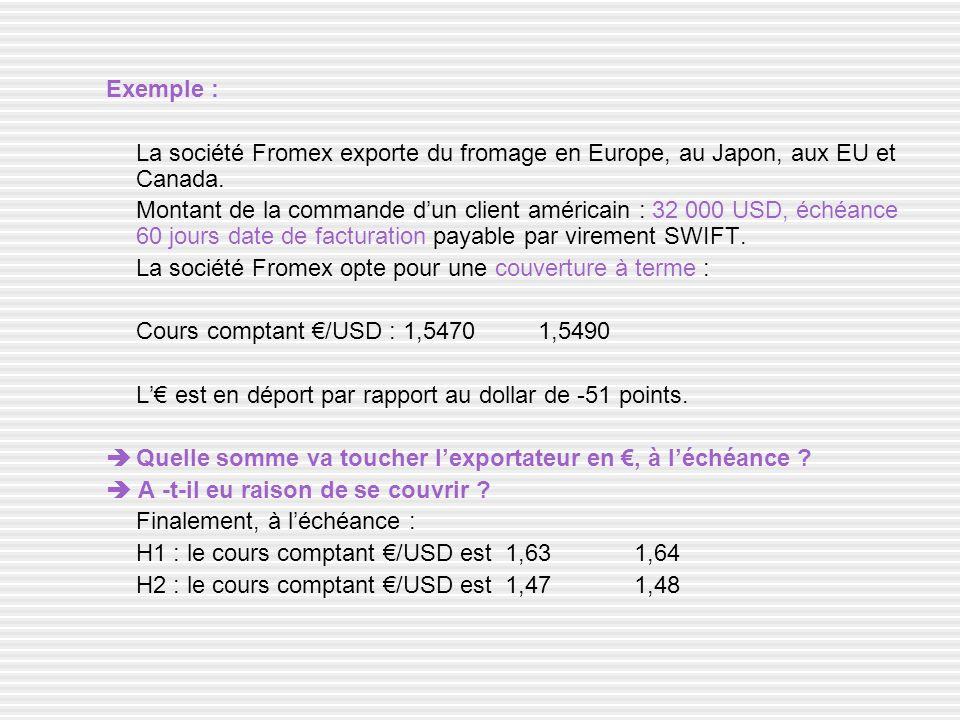 Exemple : La société Fromex exporte du fromage en Europe, au Japon, aux EU et Canada.