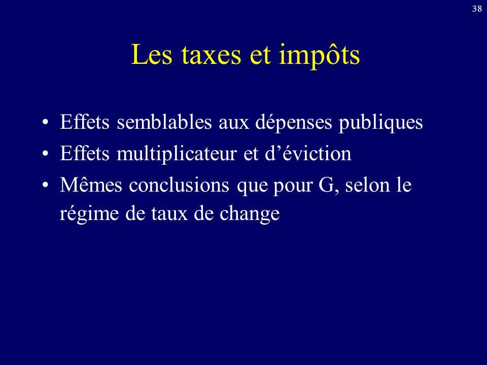 Les taxes et impôts Effets semblables aux dépenses publiques