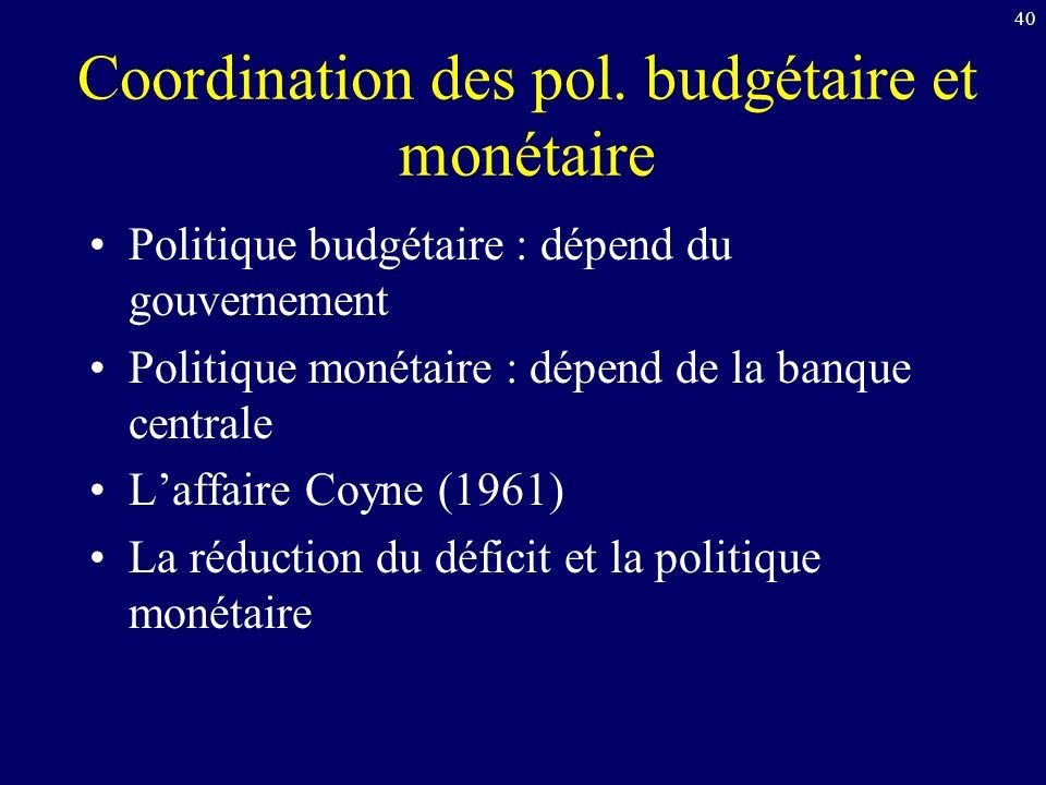 Coordination des pol. budgétaire et monétaire