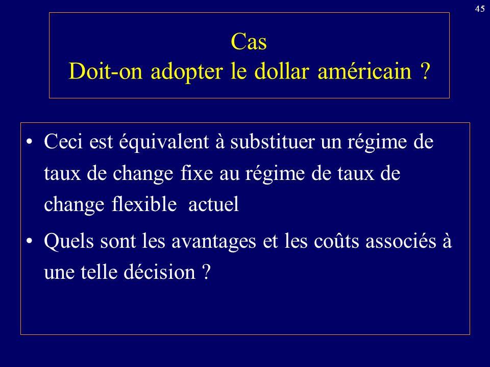Cas Doit-on adopter le dollar américain