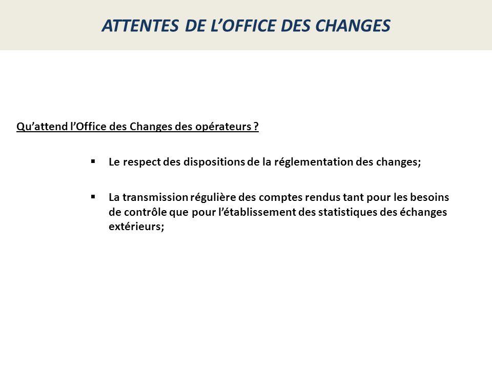 ATTENTES DE L'OFFICE DES CHANGES