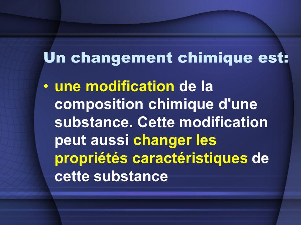 Un changement chimique est: