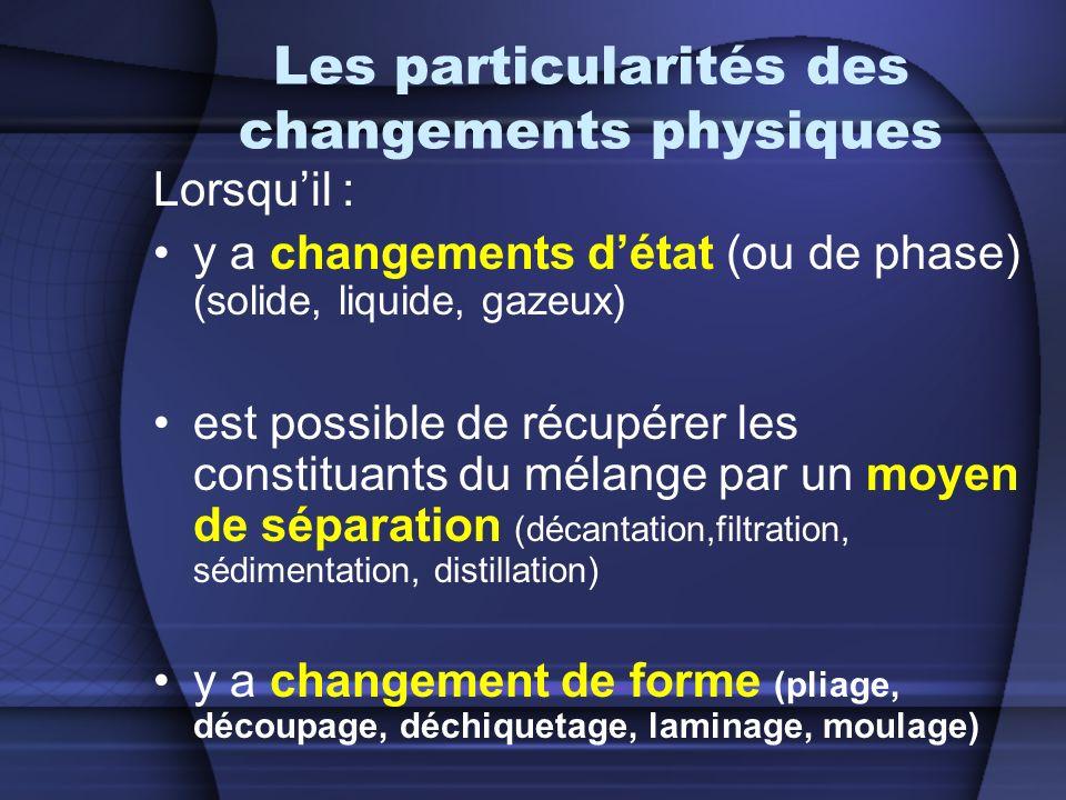 Les particularités des changements physiques