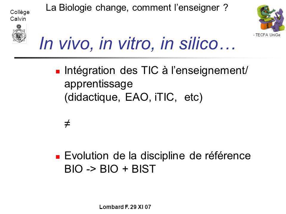 In vivo, in vitro, in silico…