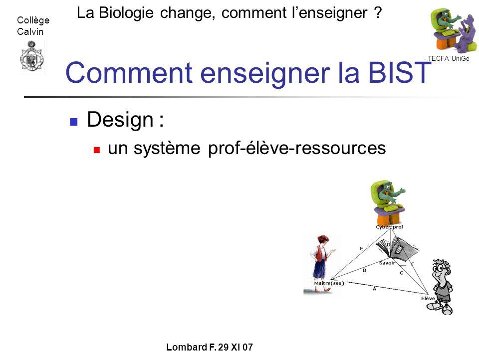 Comment enseigner la BIST