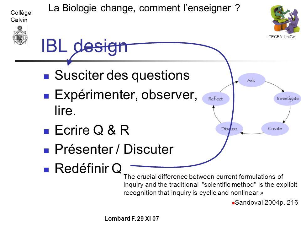 IBL design Susciter des questions Expérimenter, observer, lire.