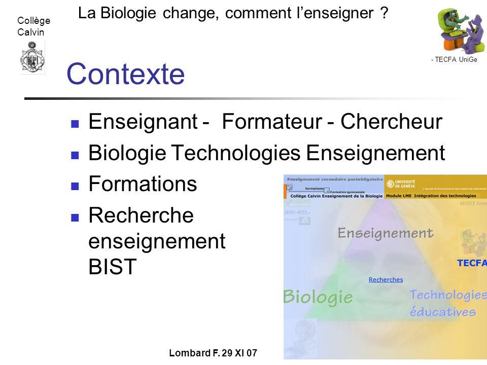 Contexte Enseignant - Formateur - Chercheur